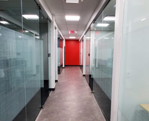 Colorful hallway at an iCode location